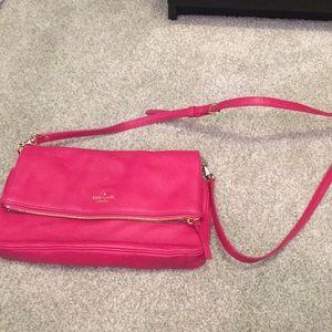 Kate spade hot pink fold over crossbody bag